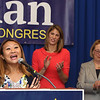 Democractic congressional candidate Lori Trahan hosts unity event with former primary opponents, and U.S. Rep Niki Tsongas, a day after officially being delcared winner of the primary. From left, Bopha Malone, Lori Trahan and Niki Tsongas. (SUN/Julia Malakie)