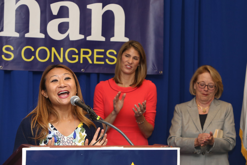 . Democractic congressional candidate Lori Trahan hosts unity event with former primary opponents, and U.S. Rep Niki Tsongas, a day after officially being delcared winner of the primary. From left, Bopha Malone, Lori Trahan and Niki Tsongas. (SUN/Julia Malakie)