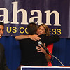 Democractic congressional candidate Lori Trahan hosts unity event with former primary opponents, and U.S. Rep Niki Tsongas, a day after officially being delcared winner of the primary. From left, Dan Koh, Rufus Gifford hugging Lori Trahan after introducing Koh to speak, and Niki Tsongas. (SUN/Julia Malakie)