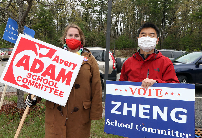 Westford town election, with contested races for Select Board and School Committee. School Committee candidates for reelection Avery Adam, left, and Mingquan Zheng, at the Miller School. JULIA MALAKIE/LOWELLSUN