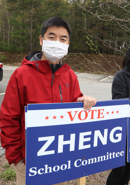 Westford town election, with contested races for Select Board and School Committee. School Committee candidate for reelection Mingquan Zheng, at the Miller School. JULIA MALAKIE/LOWELLSUN