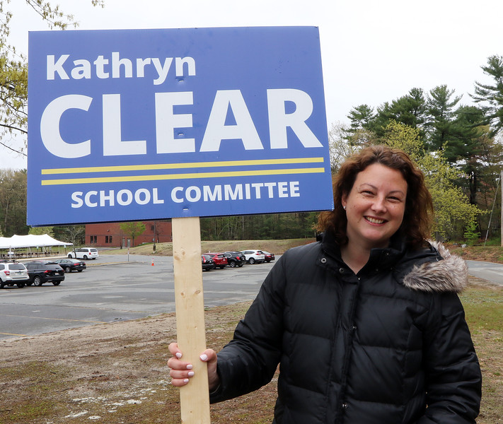 Westford town election, with contested races for Select Board and School Committee. School Committee candidate Kathryn Clear, at the Blanchard Middle School. JULIA MALAKIE/LOWELLSUN