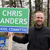 Westford town election, with contested races for Select Board and School Committee. School Committee candidate for reelection Chris Sanders, at the Robinson School. JULIA MALAKIE/LOWELLSUN