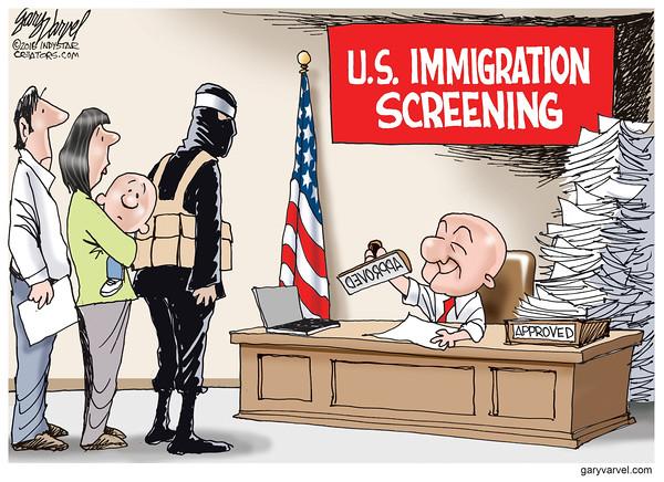 Cartoonist Gary Varvel: U.S. Immigration screening