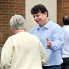 John P. Cleary | for The Herald Bulletin<br /> Mike Phipps, republican candidate for County Commissioner middle district,  greets voters at Jackson 1 Tuesday afternoon at Frankton-Lapel Schools.
