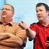 John P. Cleary | for The Herald Bulletin<br /> Republican County Council at Large candidates Jim Dodge and Brent Holland watch the numbers at Republican Headquarters Tuesday evening.  Dodge was defeated while Holland will run in the fall election.