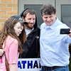 John P. Cleary | for The Herald Bulletin<br /> Mike Phipps, right, republican candidate for County Commissioner middle district, takes a selfie with family and friends while greeting voters at Jackson 1 Tuesday afternoon at Frankton-Lapel Schools.