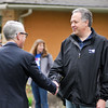 John P. Cleary | for The Herald Bulletin<br /> Mike Gaskill, Republican candidate for County Council at Large, shakes hands and greets voters at the Pendleton Community Building Tuesday morning.
