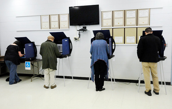 Don Knight   The Herald Bulletin<br /> The voting machines were full and there was a short line at the Central Services Building as election workers reported a steady stream of voters during the primary election on Tuesday.