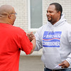 Don Knight | The Herald Bulletin<br /> Democratic candidate for County Commissioner Middle District Lindsay Brown greets Bryant Horton outside the polls at the Anderson Zion Baptist Family Life Center during the primary election on Tuesday.