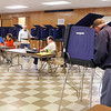 John P. Cleary | for The Herald Bulletin<br /> Voting traffic was steady as five Fall Creek precincts all voted in the Pendleton Community Building in Falls Park Tuesday.