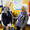 Don Knight | The Herald Bulletin<br /> Patti Helms talks to Irma Hampton Nave Stewart at Democratic Headquarters on Tuesday. Helms finished second in the county council at-large race and will be on the ballot in the fall.