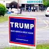 John P. Cleary | for The Herald Bulletin<br /> A Donald Trump campaign sign could be seen outside of Ward 5, Precinct 6 at the Central Services Building Tuesday.