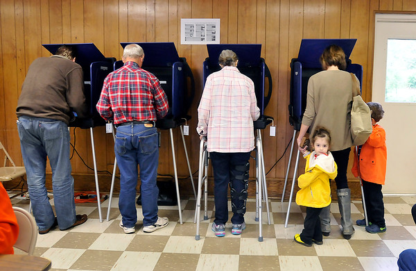 John P. Cleary | for The Herald Bulletin<br /> Voting has been steady in Fall Creek 2 where they have averaged 100 voters an hour so far this morning.