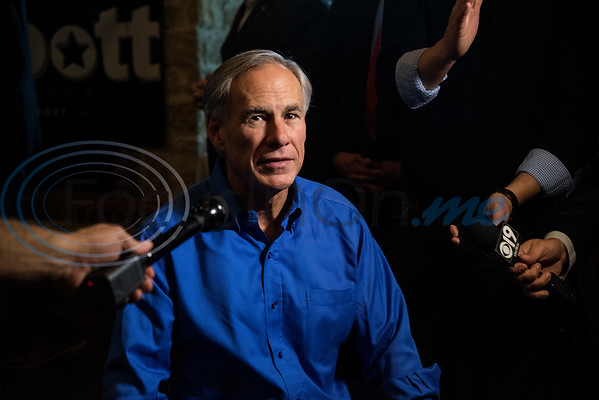 Texas Gov. Greg Abbott speaks to the media during a campaign event at Bruno's Pizza, 15770 FM 2493 in Tyler on Wednesday Oct. 24, 2018.   (Sarah A. Miller/Tyler Morning Telegraph)