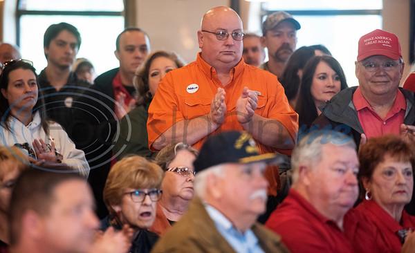 A crowd listens as Texas Gov. Greg Abbott speaks at Bruno's Pizza, 15770 FM 2493 in Tyler on Wednesday Oct. 24, 2018.   (Sarah A. Miller/Tyler Morning Telegraph)
