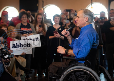 Texas Gov. Greg Abbott, who is running for re-election, speaks during a campaign event at Bruno's Pizza, 15770 FM 2493 in Tyler on Wednesday Oct. 24, 2018. U.S. Rep. Louie Gohmert, R-Tyler; Texas Sen. Bryan Hughes, R-Mineola; Texas Rep. Matt Schaefer, R-Tyler; and Texas Rep. Cole Hefner, R-Mt. Pleasant, also attended the event to urge Smith County residents to vote Republican.   (Sarah A. Miller/Tyler Morning Telegraph)