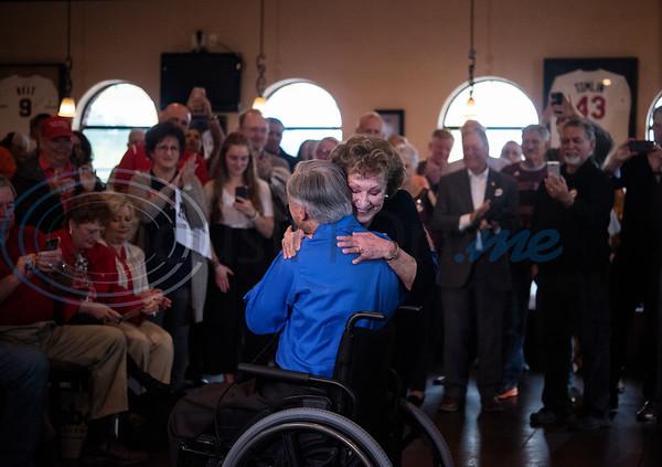 Nancy Nickel of Tyler hugs Texas Gov. Greg Abbott during a campaign event at Bruno's Pizza, 15770 FM 2493 in Tyler on Wednesday Oct. 24, 2018. Nickel was Abbott's high school English teacher at Duncanville High School.  (Sarah A. Miller/Tyler Morning Telegraph)