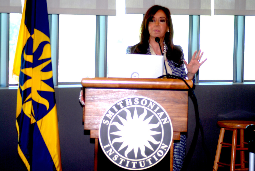 Cristina Fernandez Kirchner, president of Argentina, visits the Smithsonian Institution in Washington to see an exhibit at the Museum of the American Indian that features native cultures in South America, as well as to advance plans on a similar future exhibit in her homeland.