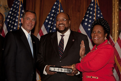 House Speaker John Boehner (R-OH) participates in a ceremonial House swearing-in ceremony for Rep. Sheila Jackson-Lee (D-TX), on Jan. 5, 2011, on Capitol Hill in Washington DC.Congresswoman Jackson Lee was elected to serve on the powerful House Democratic Steering and Policy Committee where she will be part of the Democratic Caucus' efforts to establish a new job creation strategy for the nation.    (Photo by Jeff Malet)