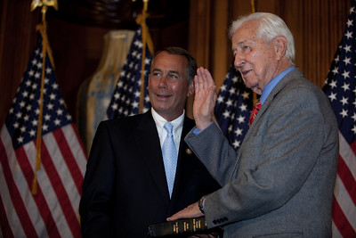 House Speaker John Boehner (R-OH) participates in a ceremonial House swearing-in ceremony for Rep. Ralph Hall (R-TX), on Jan. 5, 2011, on Capitol Hill in Washington DC. At the helm of the Science Committee, Hall, 87, is expected to be at the forefront of GOP efforts to probe the Obama administration's climate policies next year. He is also expected to pursue an aggressive pro-oil agenda. (Photo by Jeff Malet)