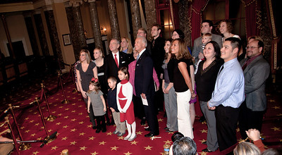Vice President Joe Biden administered a ceremonial Senate oath during a mock swearing-in ceremony to Senator Chuck Grassley (R-IA), accompanied by his wife Barbara Ann and other members of the family, on Jan. 5, 2011, in the Old Senate Chamber on Capitol Hill in Washington DC. (Photo by Jeff Malet)