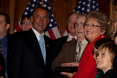 House Speaker John Boehner (R-OH) participates in a ceremonial House swearing-in ceremony for freshman Rep. Diane Black (R-TN), on Jan. 5, 2011, on Capitol Hill in Washington DC. Black has been appointed to the powerful House Ways and Means Committee, which sets policy on taxes and national financial policies. (Photo by Jeff Malet)