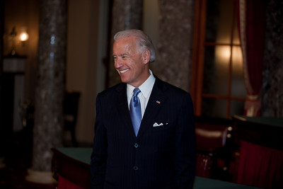 Vice President Joe Biden smiles at the conclusion of the ceremonial Senate swearing-in of Senators on Jan. 5, 2011, on Capitol Hill in Washington. (Photo by Jeff Malet)