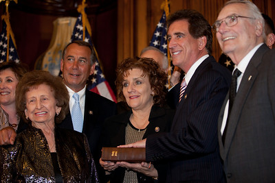 House Speaker John Boehner (R-OH) participates in a ceremonial House swearing-in ceremony for new congressman Rep. Jim Renacci (R-OH), on Jan. 5, 2011, on Capitol Hill in Washington DC. Present were wife Tina and other members of his family. (Photo by Jeff Malet)