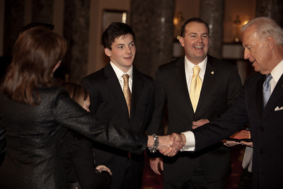 Vice President Joe Biden administered a ceremonial Senate oath during a mock swearing-in ceremony to freshman Mike Lee and members of his family, on Jan. 5, 2011, in the Old Senate Chamber on Capitol Hill in Washington DC. (Photo by Jeff Malet)