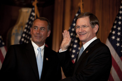 House Speaker John Boehner (R-OH) participates in a ceremonial House swearing-in ceremony for Rep. Lamar Smith (R-TX), on Jan. 5, 2011, on Capitol Hill in Washington DC. Smith was recently appointed by congressional Republicans to Chair the House Judiciary Committee for the next Congress. As chairman, Smith said he would shelve immigration reform proposals and work instead to ensure enforcement of existing immigration laws by the Obama administration. (Photo by Jeff Malet)