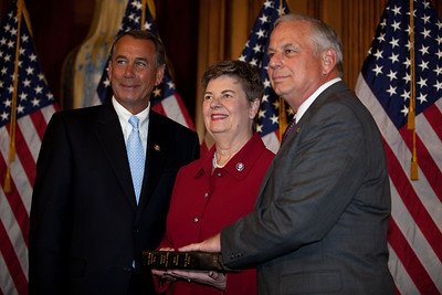 House Speaker John Boehner (R-OH) participates in a ceremonial House swearing-in ceremony for Rep. Gene Green (D-TX), on Jan. 5, 2011, on Capitol Hill in Washington DC. Green's wife Helen was present at the ceremony. (Photo by Jeff Malet)