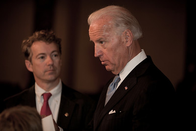 Vice President Joe Biden administered a ceremonial Senate oath during a mock swearing-in ceremony to freshman Rand Paul (R-KY), on Jan. 5, 2011, in the Old Senate Chamber on Capitol Hill in Washington DC. (Photo by Jeff Malet)
