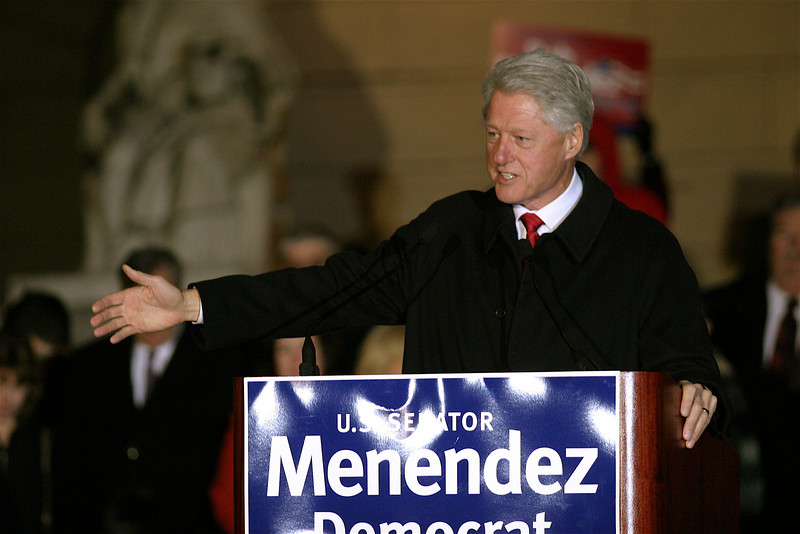 Pre-election rally<br /> Democratic party<br /> Hackensack courthouse steps<br /> President Bill Clinton