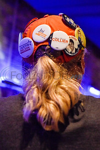 Pins of Democratic candidates on a hat during a midterm election Democratic watch party at Roast Social Kitchen in Tyler, Texas, on Tuesday, Nov. 6, 2018. (Chelsea Purgahn/Tyler Morning Telegraph)