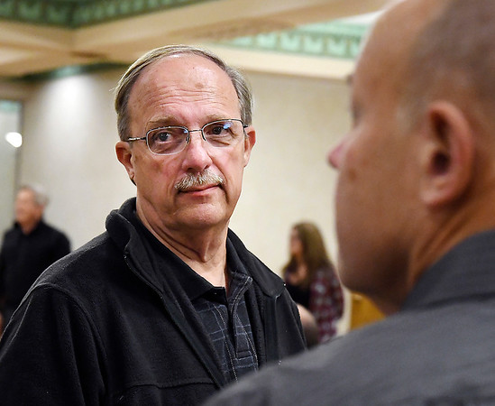 John P. Cleary | The Herald Bulletin<br /> Republican Dan Girt talks with supporters after winning his bid for County Treasurer.