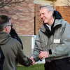 John P. Cleary | The Herald Bulletin<br /> Democrat candidate for County Sheriff Scott Mellinger greets voters as they come to the polls at Bethany Christian Church.
