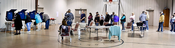 John P. Cleary | The Herald Bulletin<br /> Long lines stretched across the gym Tuesday at ward 1, precinct 5 at Parkview Church of the Nazarene.