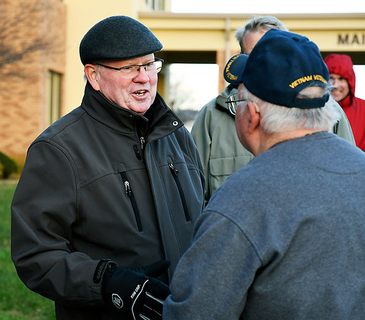 John P. Cleary | The Herald Bulletin<br /> County Council District 1 Republican candidate Jerry Alexander works the polls in Union Township Tuesday afternoon.