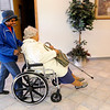 Don Knight | The Herald Bulletin<br /> Katherine Nunn helps Lada Burt get to the polls at Anderson Zion Baptist Church during Election Day.