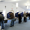 Don Knight | The Herald Bulletin<br /> The voting machines are full as East Side Church of God where workers reported a large turnout for the midterm election on Tuesday.