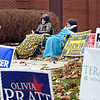 John P. Cleary | The Herald Bulletin<br /> Lana Rana Han and Hannah Scott try to keep warm all bundled up as they work the ward 1, precinct 6 voting site at East Side Church of God Tuesday morning.