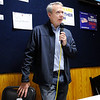 Don Knight | The Herald Bulletin<br /> Sheriff Scott Mellinger thanks his family and supporters at Democratic Headquarters on Tuesday. Despite winning Mellinger's speech took a somber tone after the party lost several local races.
