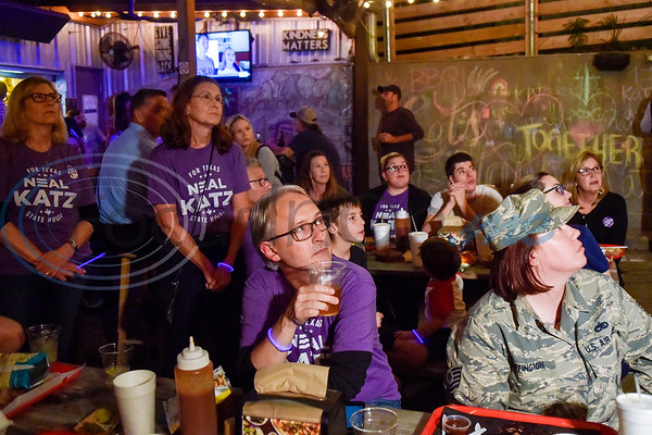 People listen as Neal Katz, not pictured, shares his thoughts about the campaign during a midterm election watch party for independent candidate Neal Katz at Stanley's Famous Barbecue in Tyler, Texas, on Tuesday, Nov. 6, 2018. (Chelsea Purgahn/Tyler Morning Telegraph)