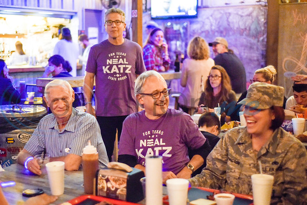 People hang out during a midterm election watch party for independent candidate Neal Katz at Stanley's Famous Barbecue in Tyler, Texas, on Tuesday, Nov. 6, 2018. (Chelsea Purgahn/Tyler Morning Telegraph)