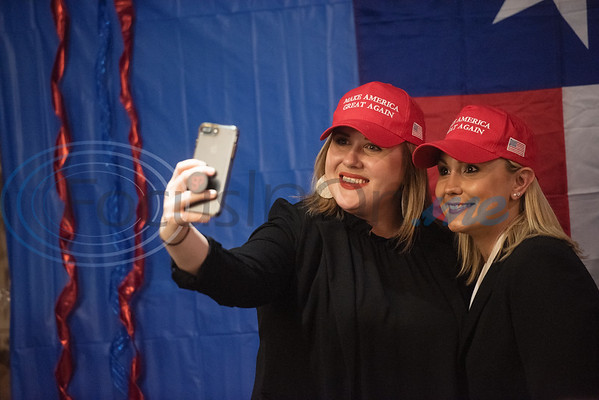 Heather Sanders of Tyler and Carmen Carpenter of Tyler take a selfie in their Make America Great Again hats at the Republican election watch party held at the Potpourri House in Tyler on Tuesday Nov. 6, 2018.  (Sarah A. Miller/Tyler Morning Telegraph)