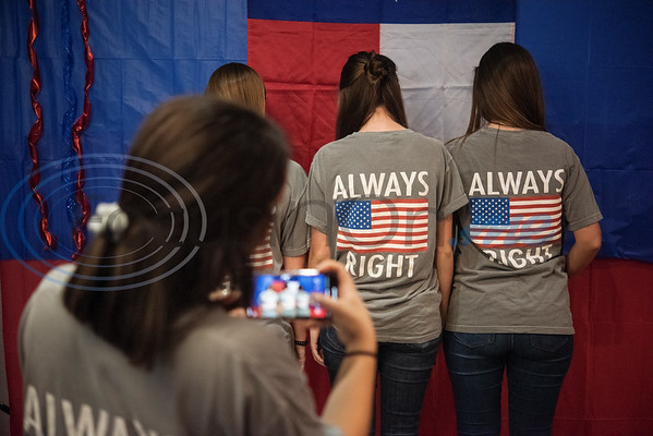 """Robert E. Lee High School Young Republicans wear shirts with the slogan """"always right"""" at the Republican election watch party held at the Potpourri House in Tyler on Tuesday Nov. 6, 2018.  (Sarah A. Miller/Tyler Morning Telegraph)"""