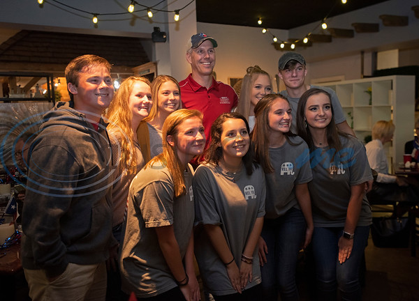 Matt Schaefer, State Rep. District 6, takes a photograph with members of the Robert E. Lee High School Young Republicans during the Republican election watch party held at the Potpourri House in Tyler on Tuesday Nov. 6, 2018.   (Sarah A. Miller/Tyler Morning Telegraph)