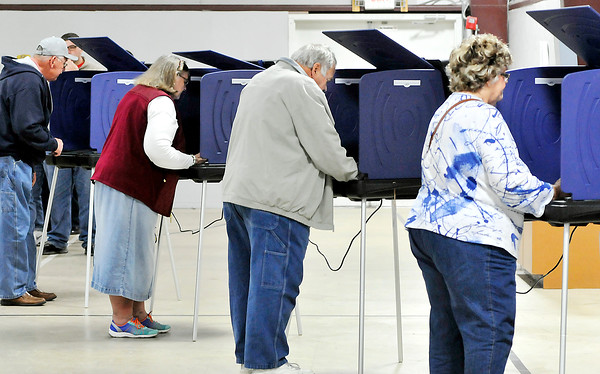 John P. Cleary |  The Herald Bulletin<br /> The voting booths were full continually at Lafayette 2 at Florida Station Church of God as voters lined up most all day to cast their ballots.