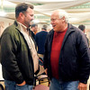 John P. Cleary |  The Herald Bulletin<br /> North Dist. Republican candidate John Richwine has a winning moment with Republican candidate for Surveyor Tom Shepherd at the Republican election celebration Tuesday evening. Both candidates won their races.